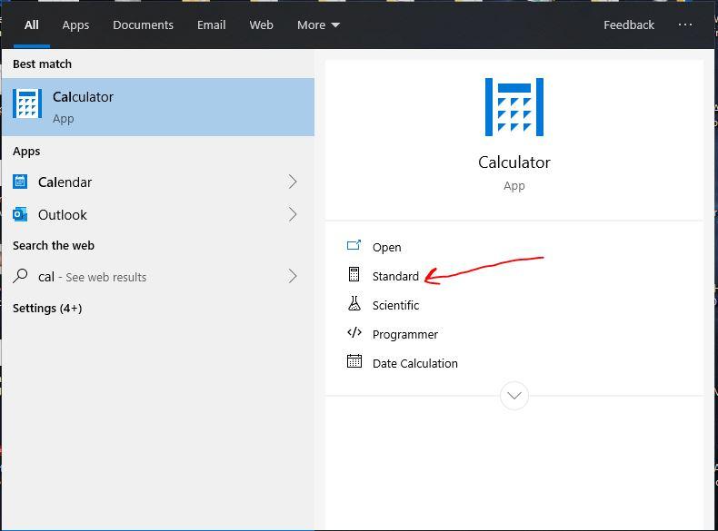 Run the Standard Calculator program Windows 10