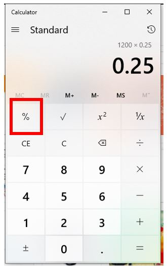 Press or click the percent key to calculate it