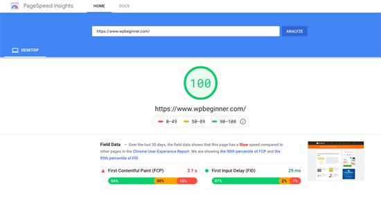 WPBeginner Tes Kecepatan Halaman Google
