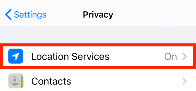 Ketuk Layanan Lokasi dari aplikasi Privasi