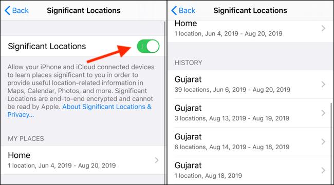 Klik pada Significant Locations toggle untuk mematikannya