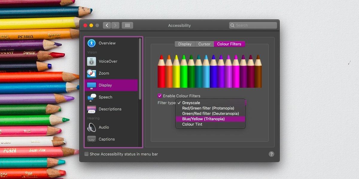 Cómo activar el filtro de pantalla daltónico en macOS 1