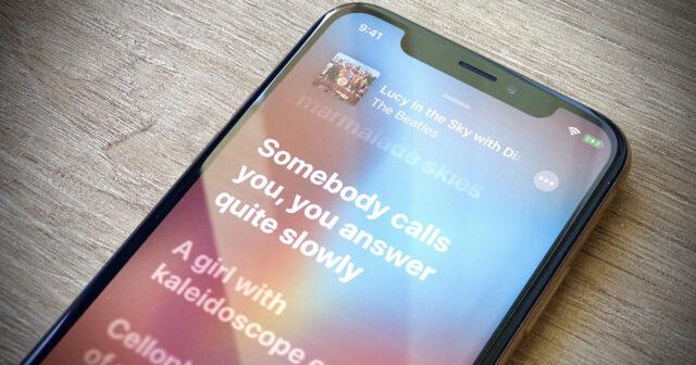 lirik lirik musik iOS 13
