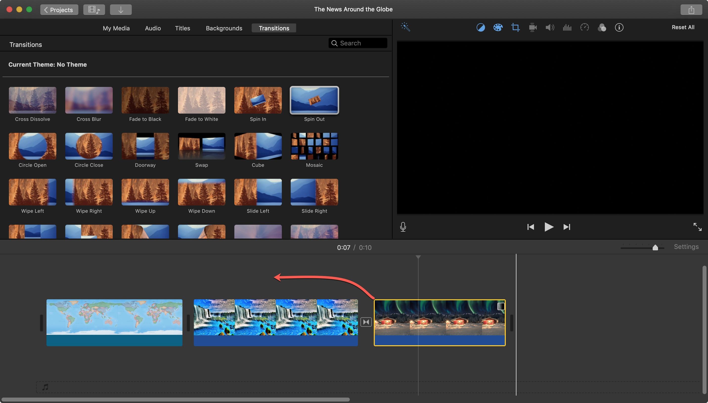 iMovie Kéo Clip cho Mac màn hình riêng biệt