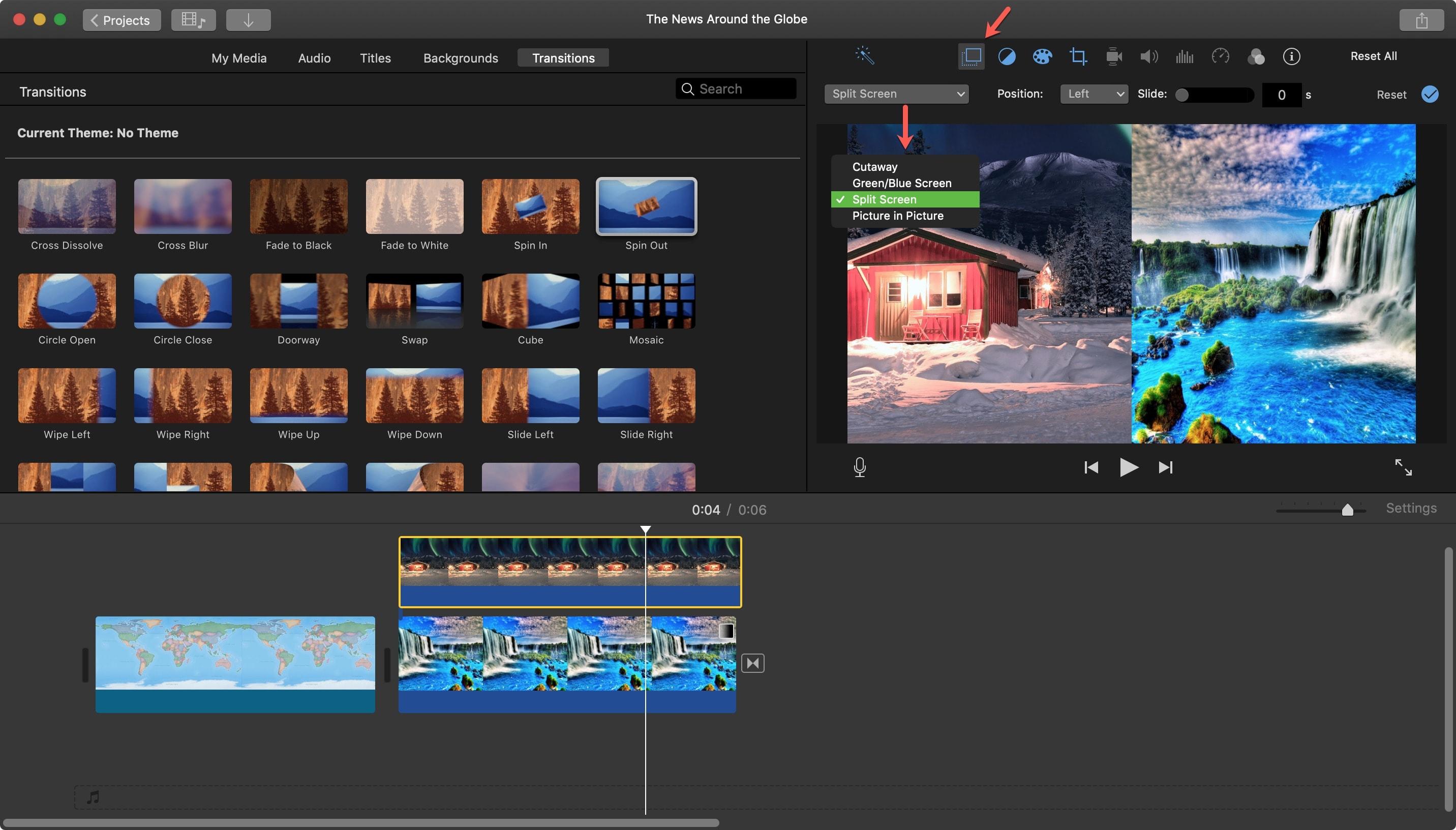 iMovie Chia màn hình Mac