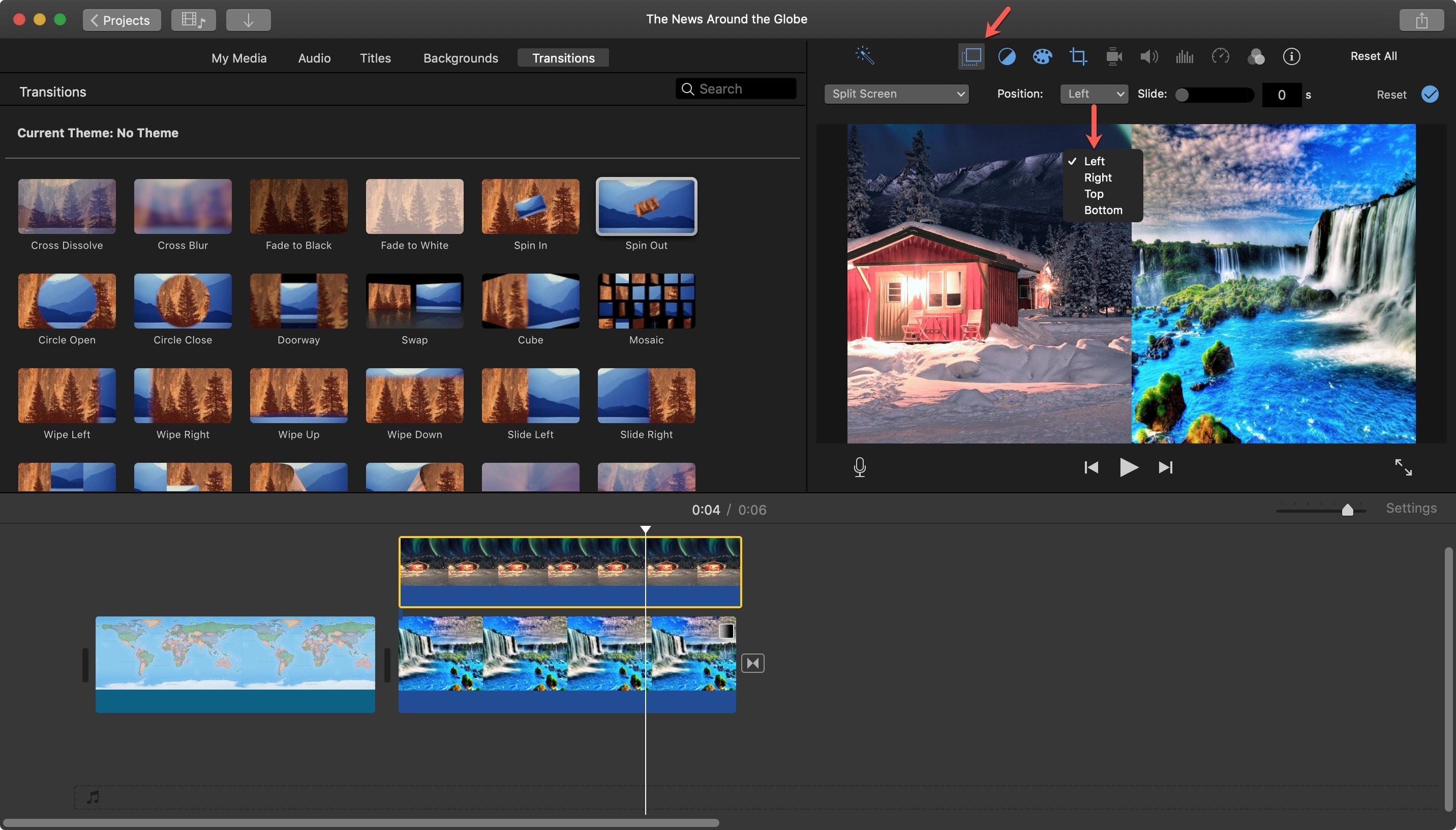 Vị trí màn hình IMovie Split Mac