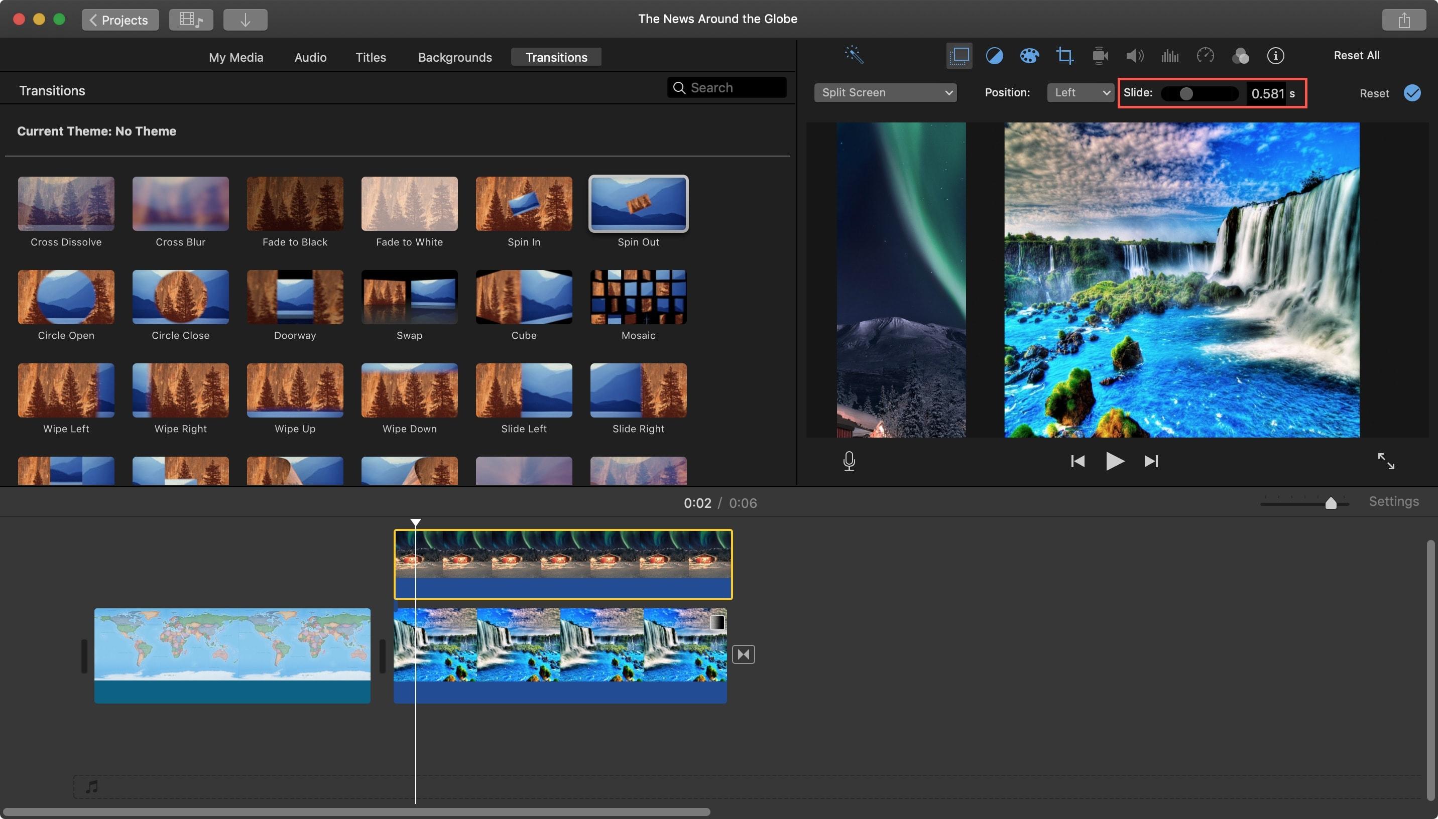 Màn hình chuyển tiếp IMovie Split Mac