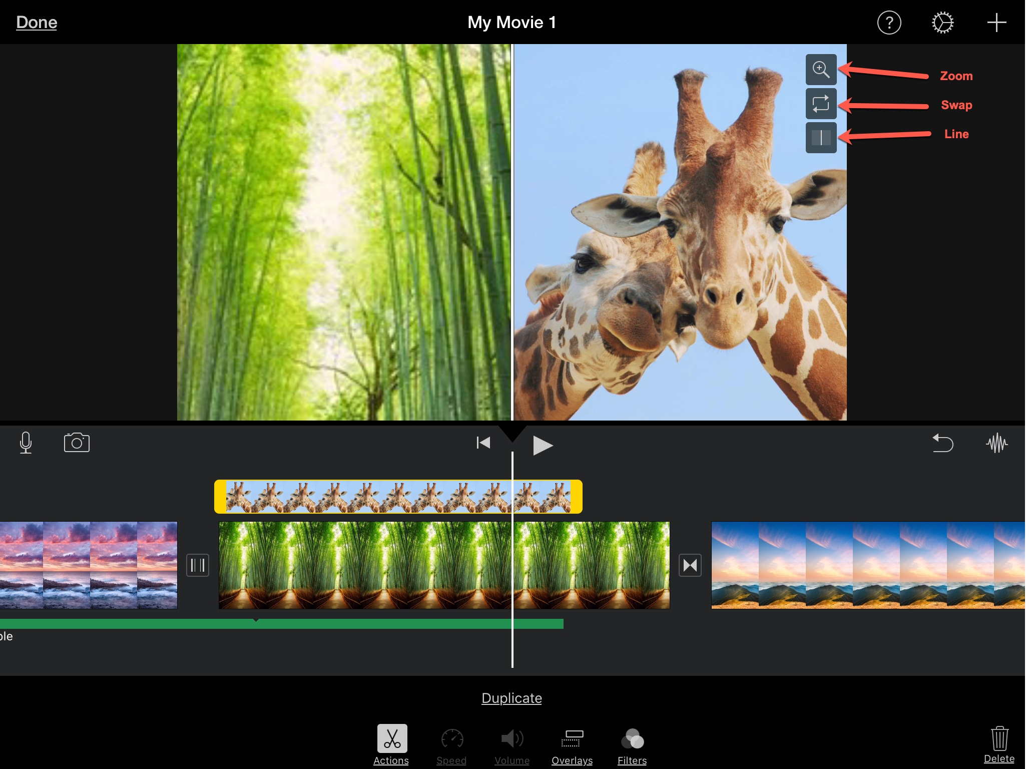 Cài đặt màn hình chia nhỏ iPad của IMovie