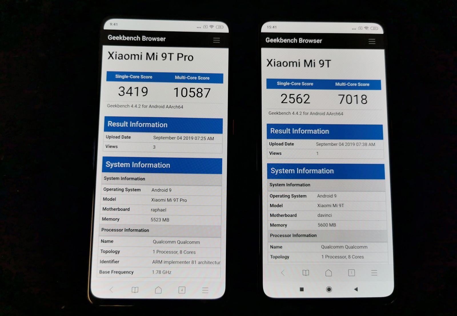 Mi 9T vs Mi 9T Pro Geekbench