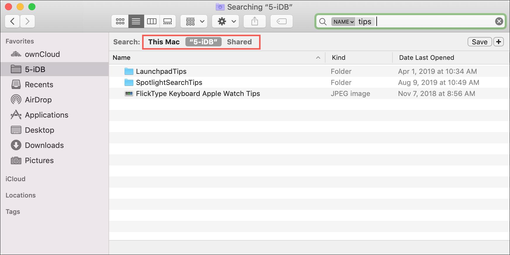Параметры поиска Mac Finder