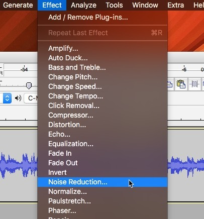 Selecting the Audacity noise reduction effect menu