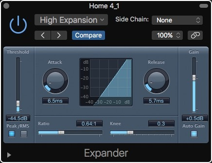 Logic Pro X High Expansion Noise Removal Expander