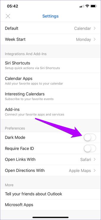 Outlook Android iOS qaranlıq rejimi 3