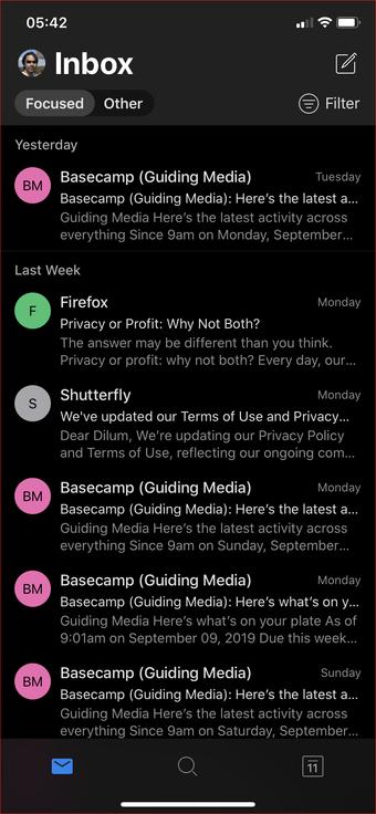 Outlook Android iOS qaranlıq rejimi 5