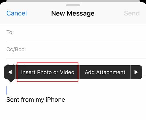 Adjuntos de correo electrónico Ios Insertar fotos