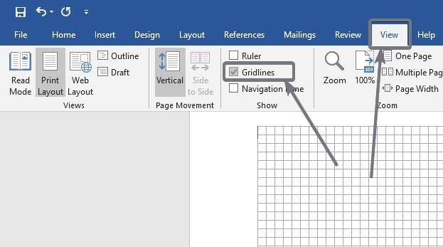 Active 'Cuadrículas' en Microsoft Word y PowerPoint.