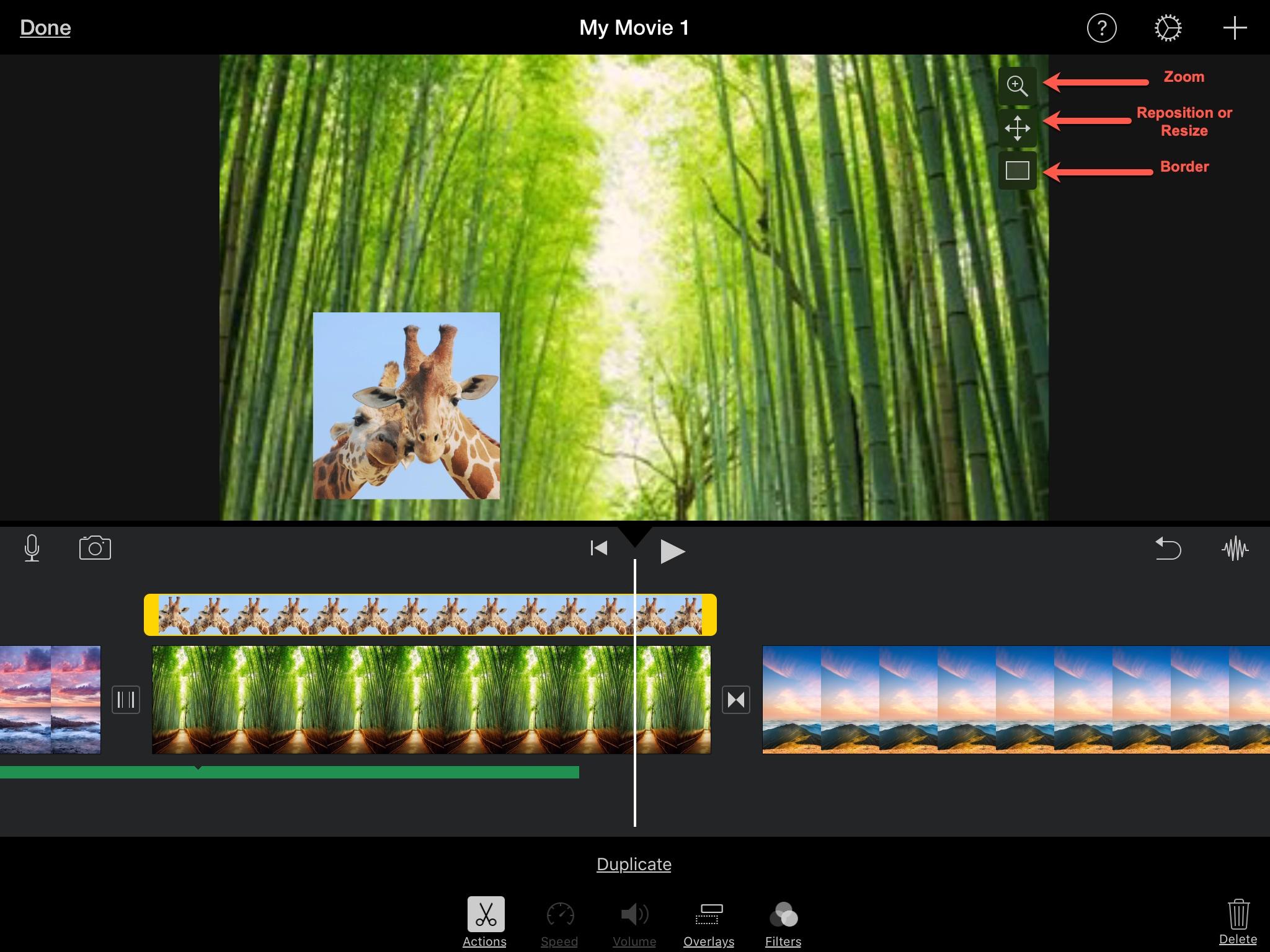 iMovie Upraviť obrázky na obrázkoch iPadu