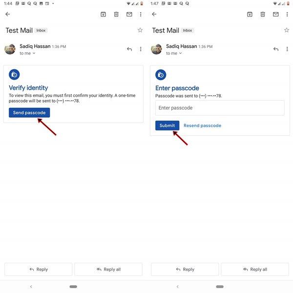 Gmail-də parol göndərin