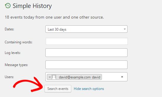 Opsi pencarian log riwayat aktivitas sederhana