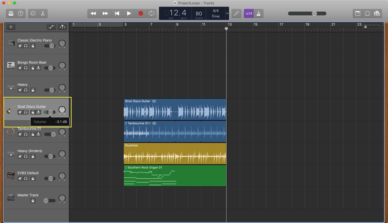GarageBand ajusta el volumen de la pista de Mac