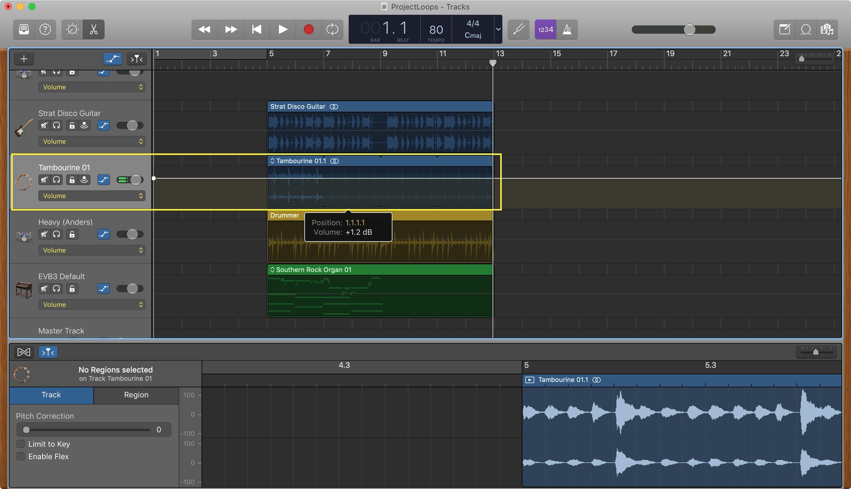 GarageBand Cambiar volumen de pista de Mac