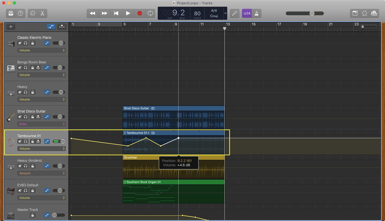 GarageBand ajusta los puntos de volumen de Mac