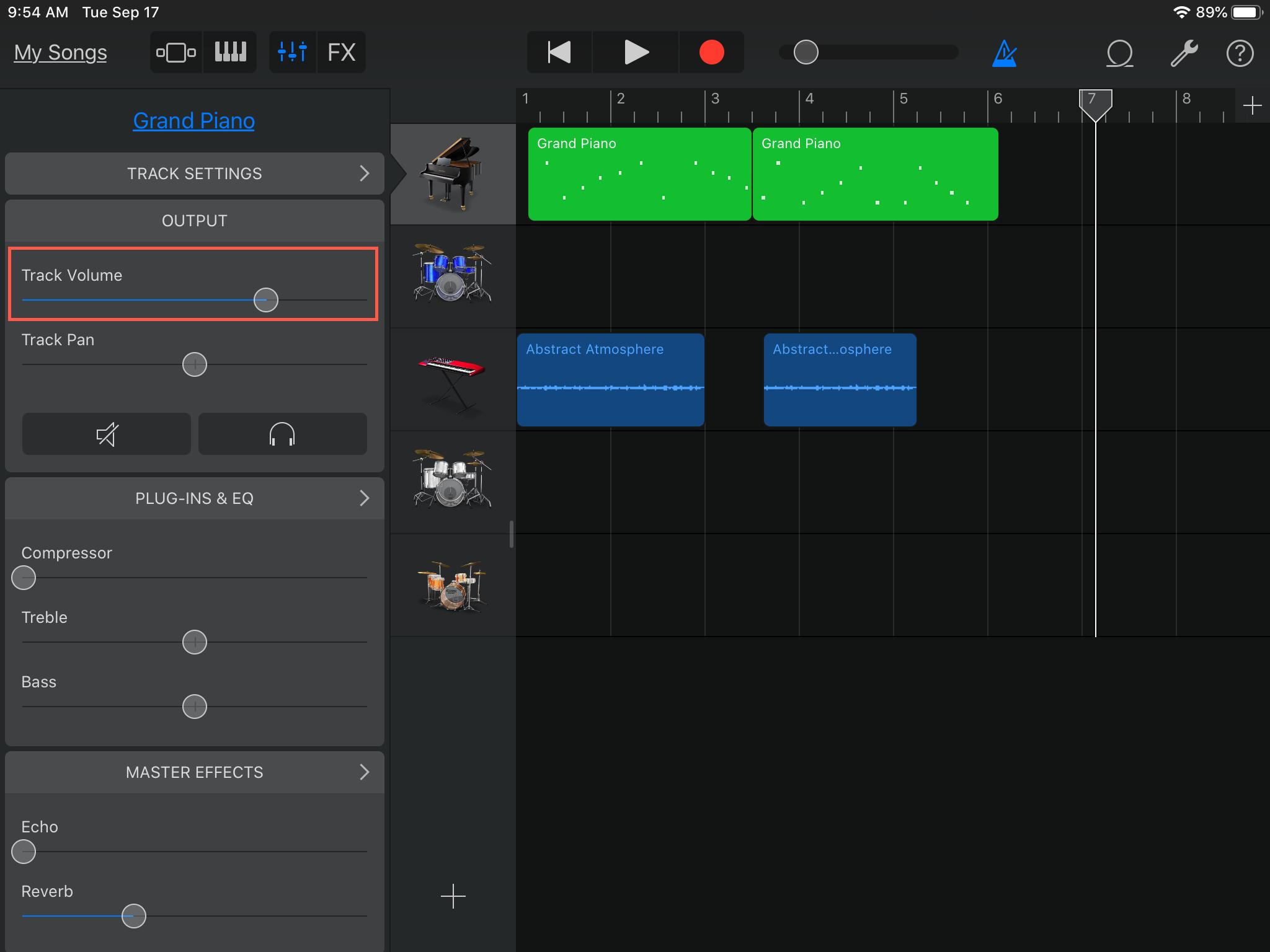 GarageBand ajusta el volumen de la pista del iPad