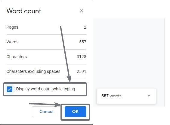 Google Sənəddə yazarkən söz sayını göstərin 3 4