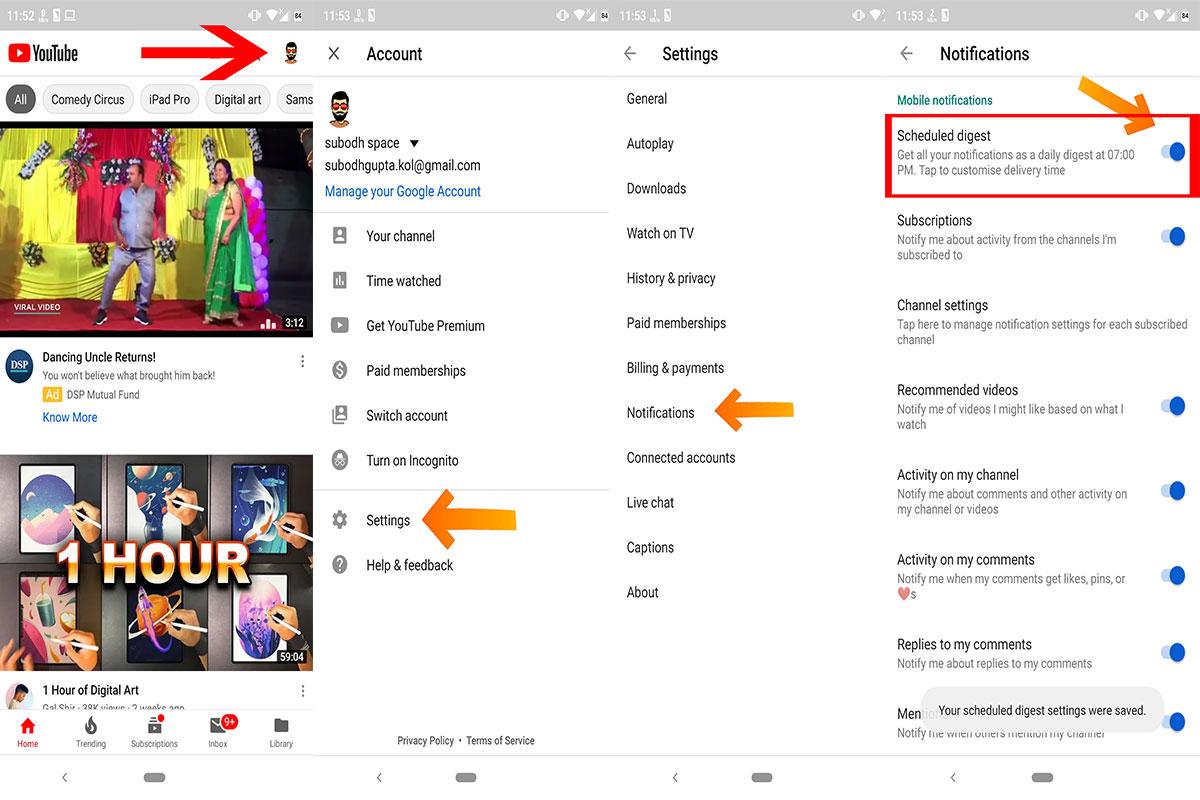 Cədvəl YouTube Android cihazlarında bildiriş (bunu necə etmək olar)