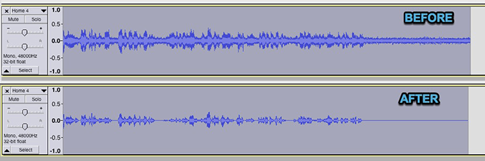 Audacity noise removal effects before and after waves