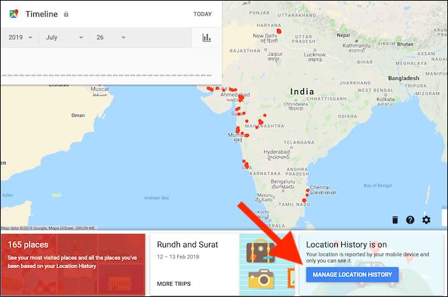 Klik tombol Kelola Riwayat Lokasi dari halaman Google Maps Timeline