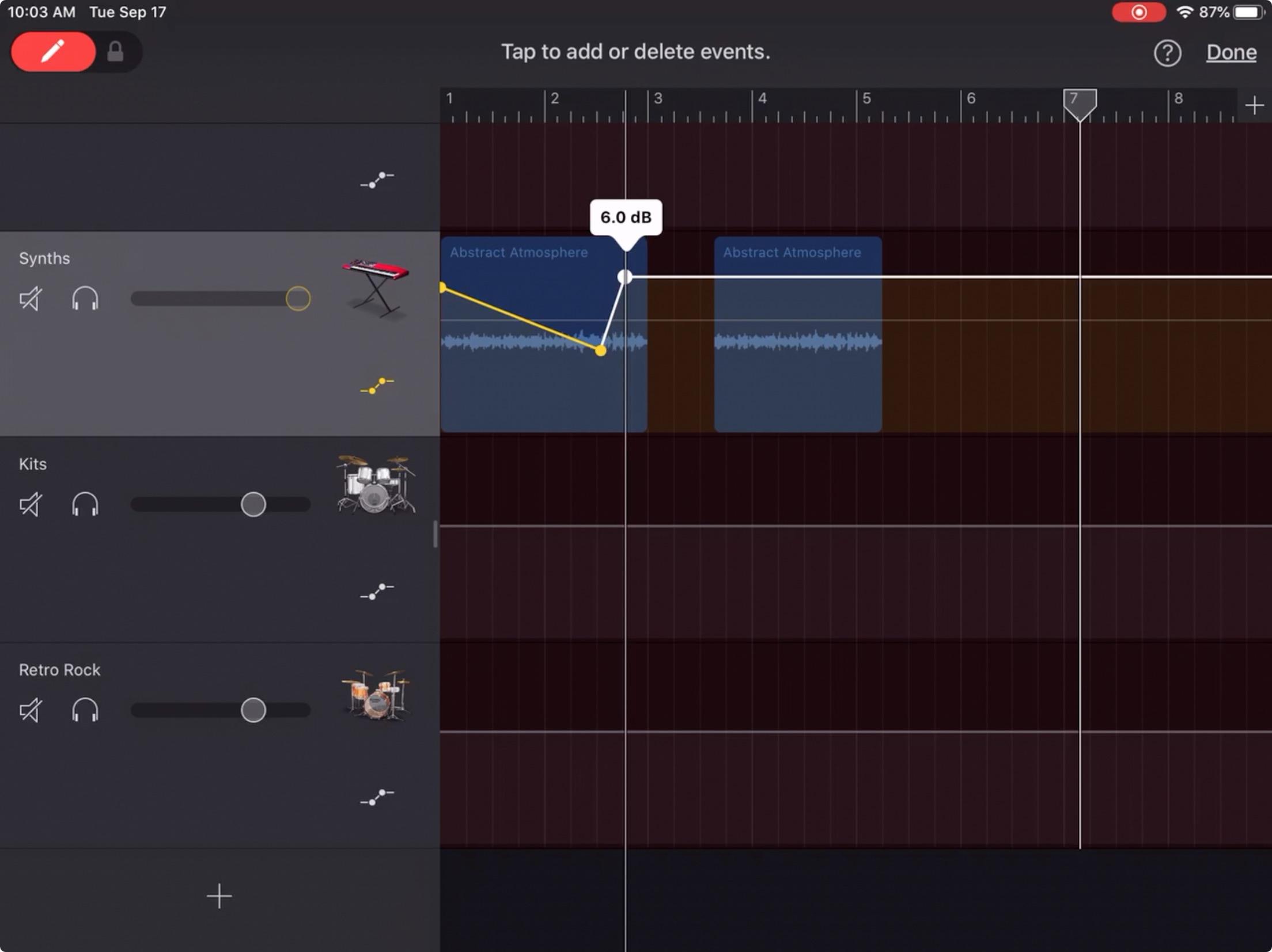 GarageBand ajusta los puntos de volumen del iPad