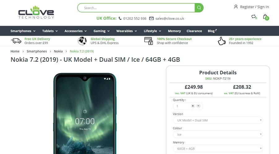 Cravo agora oferece Nokia 7.2, Nokia 2720 Flip e Nokia 800 Tough para o Reino Unido e a UE 1