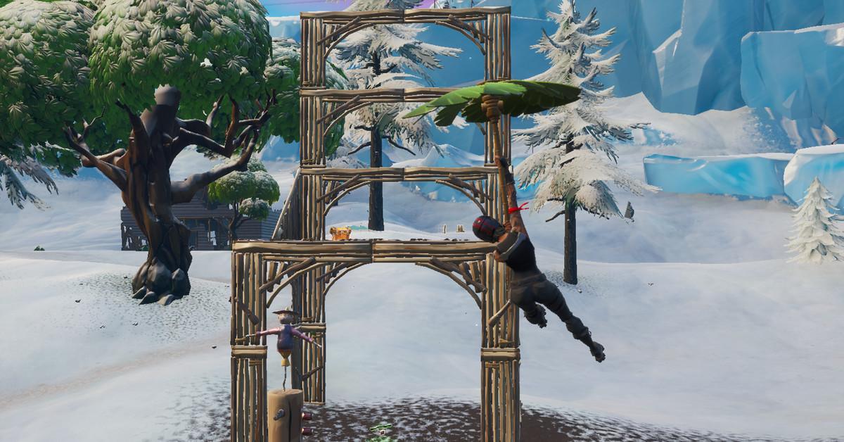 Fortnite  misión: bailar frente a una estatua de murciélago, en un estanque sobre el suelo y en una silla para el gigante Boogie Down 2