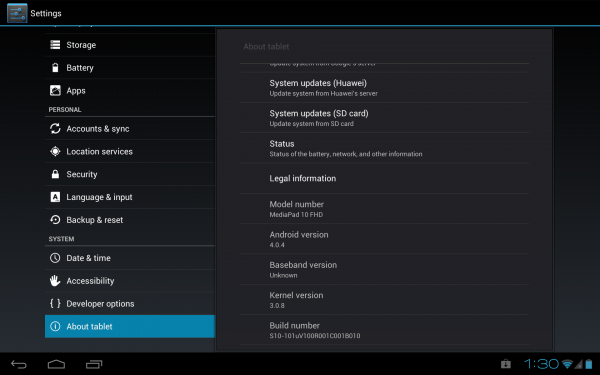 Huawei MediaPad 10 FHD: volcado del sistema (Android 4.0.4 B010) 1