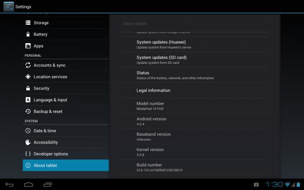 Huawei MediaPad 10 FHD: System Dump (Android 4.0.4 B010) 1