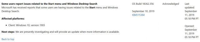 Microsoft Patch Breaks terbaru Windows 10 Pencarian Desktop, Menu Mulai, Audio 2