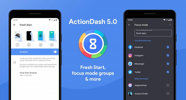 Pembaruan ActionDash v5.0 memperkenalkan fitur Mulai Baru dan opsi Mode Fokus tambahan 1