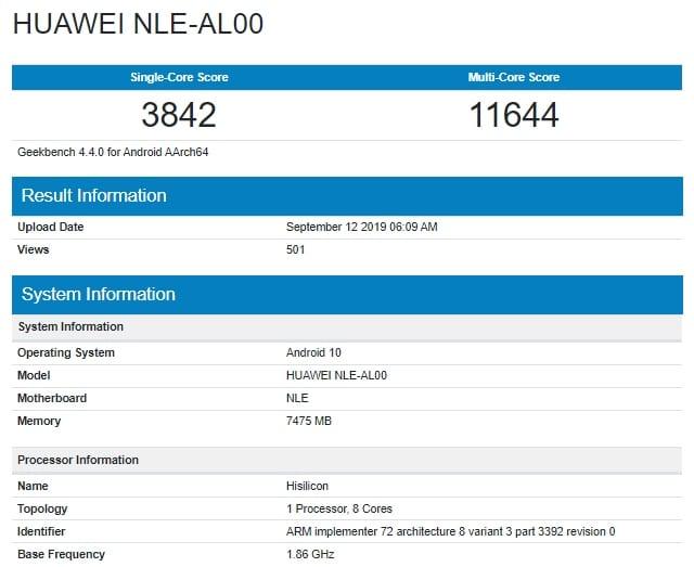 Geekbench'te Kirin 990 ile Huawei NLE-AL00