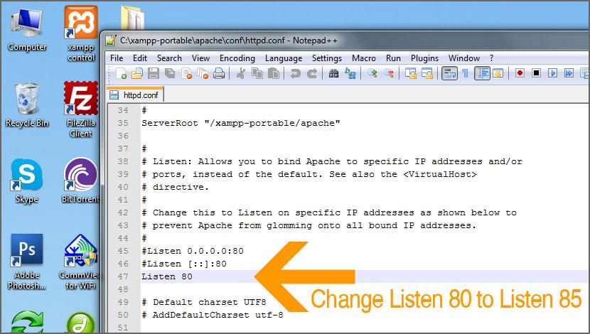 XAMPP Apache Tidak Akan Mulai - Ubah Port Untuk Mendengarkan 85