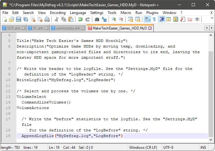 Introducción a Mydefrag Your Way Script
