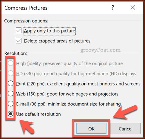 Nén tùy chọn hình ảnh trong PowerPoint