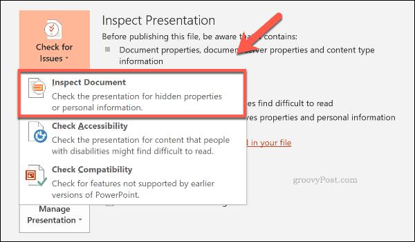 Kiểm tra nút tài liệu trong PowerPoint