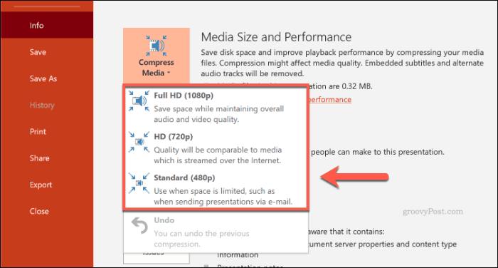 Tùy chọn nén phương tiện trong PowerPoint