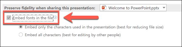 Tùy chọn phông chữ nhúng trong PowerPoint
