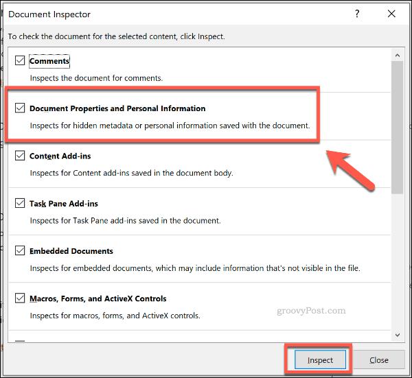 Cửa sổ thanh tra tài liệu trong PowerPoint