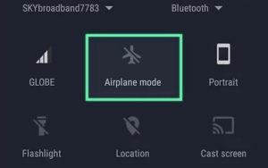 Hızlı ayarlarda uçak modu