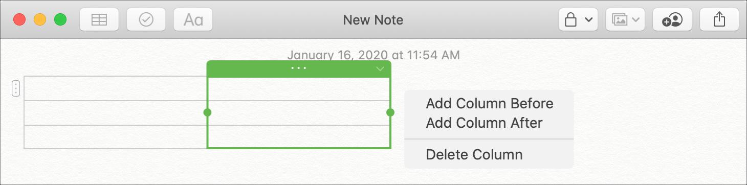 Adicionar tabela de colunas às notas do Mac