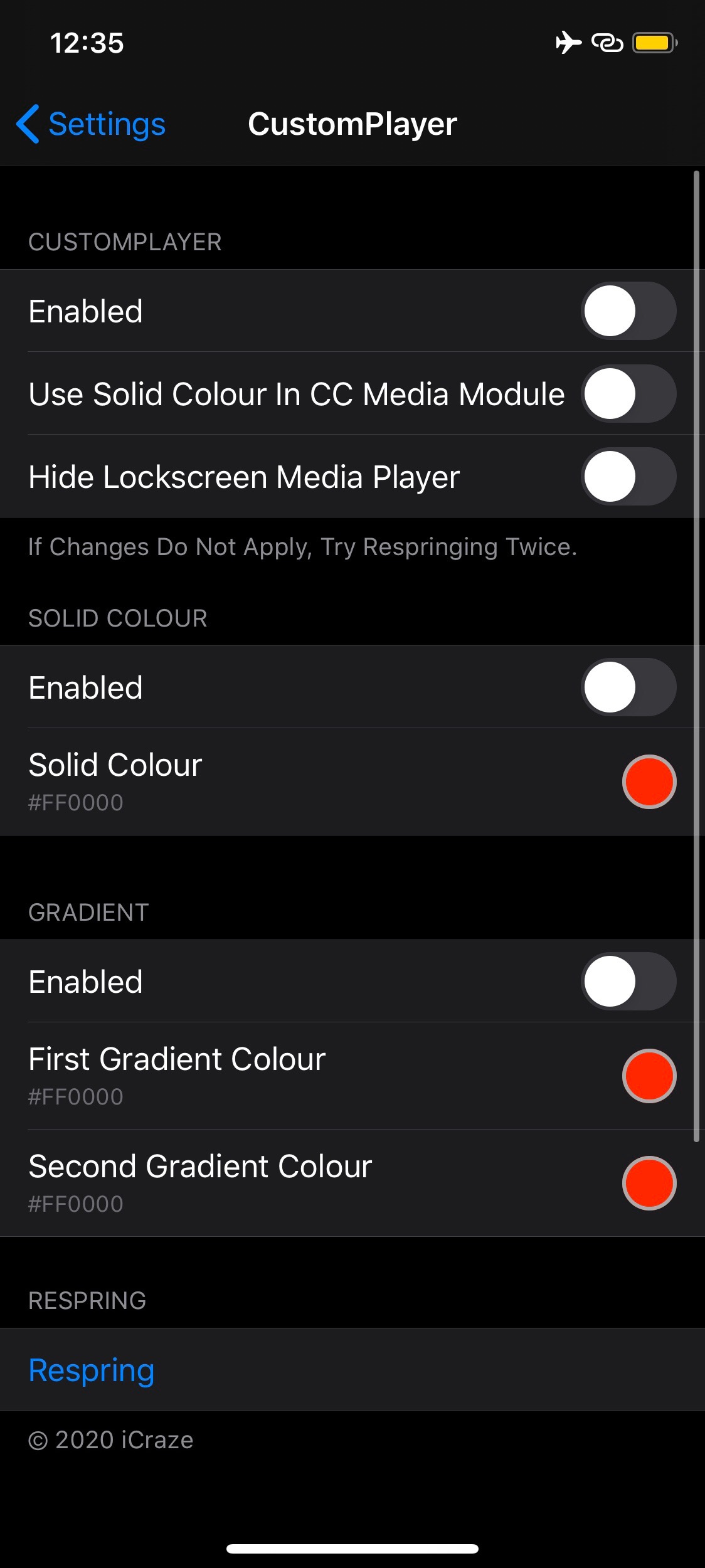 CustomPlayer allows you to colorize the iOS Now Playing 3 widget