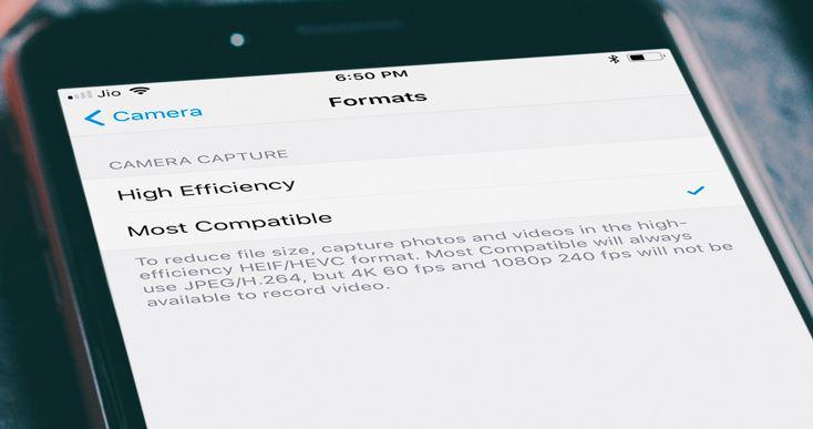 Aseta iPhone-kamera tallentamaan valokuvat JPEG-muodossa